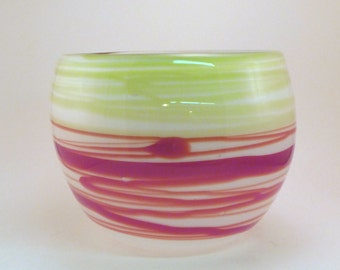 Red and Green Abstract Wrap Bowl