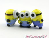 Minion Despicable me  Lampwork  Bead / miniature / sculpture / figurine