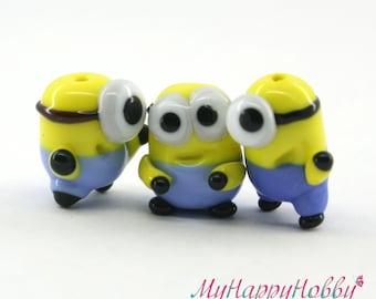 Minion Despicable me  Lampwork  Bead / miniature / sculpture / figurine