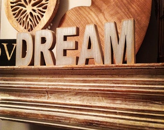 Wooden Letters - Free-standing - Ariel Font - 10cm - DREAM, various colours and finishes available