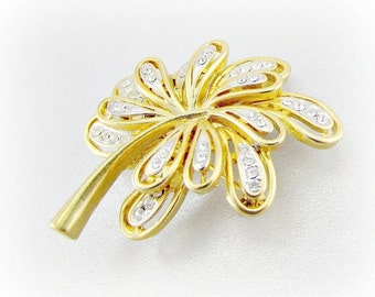 Vintage Gold Leaf Cluster Brooch Pin, Clear Rhinestone Crystal Brooch, Gold Floral Flower Brooch, 1970s Art Deco Nouveau Jewelry