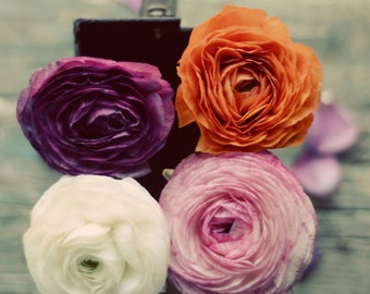 ranunculus art, cottage chic decor, pink white floral print, romantic art, teal wall art, rustic flower art, spring decor, fine art print