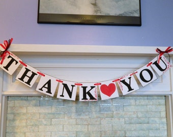 THANK YOU Sign Banner / Red and black Wedding Banner / Wedding Garland / Wedding Thank Cards Photo Prop /Reception Signs you Pick the colors