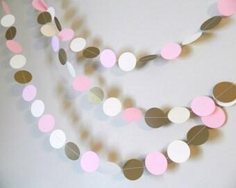 Winter Onederland Party Decor - Gold Pink and Ivory paper garland -  Wedding Garland-  baby shower Decorations - Bridal Shower Decor