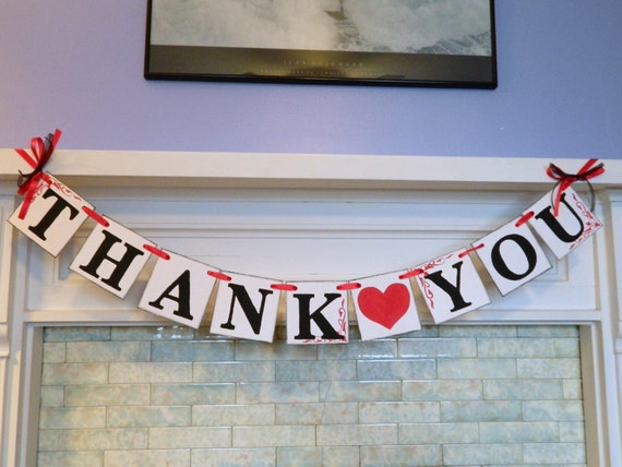 THANK YOU Sign Banner / Rustic Wedding Banner / Wedding Garland / Wedding Thank Cards Photo Prop /Reception Signs you Pick the colors