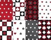 CASINO Paper - Shapes : Black & Red Gradient - Digital casino paper, casino scrapbook paper, printable casino paper, casino theme paper