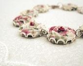 Flower Bracelet in Tea Rose Floral Fabric - Raspberry Pink, Ice Cream & Asparagus - Silver Lace Bracelet