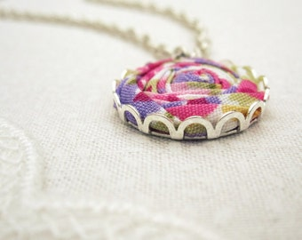 Sweet Pea Necklace - Pink, Lilac, Yellow & Green Floral Fabric Rose Necklace