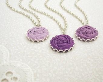 Purple Bridesmaid Necklaces - Flower Necklace - Set of 3 Fabric Rose Necklaces