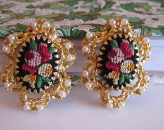Needlepoint Earrings, Floral Earrings, Embroidered Earrings, Clip On Mad Men Earrings, Pink, Yellow, Green, Costume Earrings