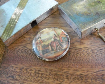 Antique Compact Pastoral Scene Vanity Find