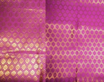 One yard reversible purple and  gold  Indian silk brocade fabric