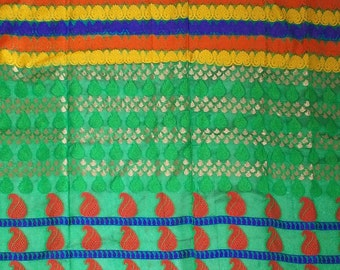 One yard chanderi cotton silk in green with lovely motifs in rows