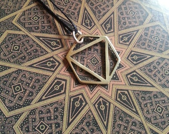 Platonic Solid Pendant - Octahedron - Brass Symbols range - Geometry - Handcrafted
