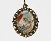 Mermaid Necklace, Beach, Sea, Ocean, Whimsical Mermaids, Mermaid Jewelry, Oval Pendant