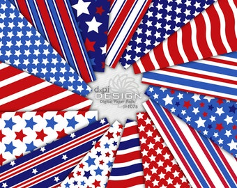 Stars and Stripes - 4th of July Digital Paper Backgrounds and Printable Red, White, and Blue Patriotic Designs - Instant Download (DP107B)