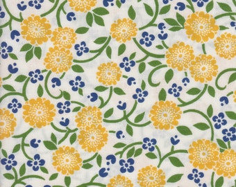 Floral Quilting Fabric, Yellow Flowers on White Background