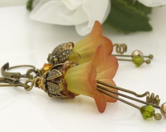 Brown and green flower earrings, autumn fall lucite flower earrings, olive green, golden rust brown, vintage style flower jewelry