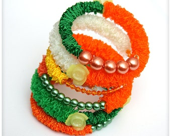 FREE SHIPPING... Chunky Colourful Fabric Bracelet with beads