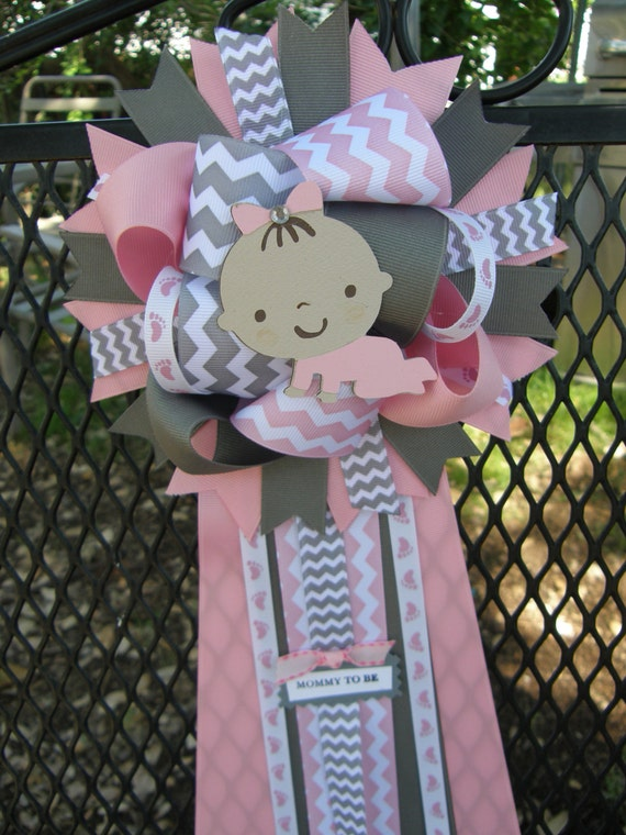 baby shower mum pink and grey baby shower chevron baby shower