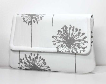 Clutch - Gray / Grey Dandelions on White with 2 Pockets - Ready to Ship