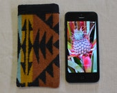Wool iPhone 5, 5s, 5c sleeve cover case - phone won't slip out - Native American print fabric - 4 4s 3g 3gs fits all iPhones