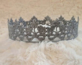 Newborn Crown, Hand Painted Silver Sparkle Crown, Newborn Photography Prop, Lace Crown, Baby Crown