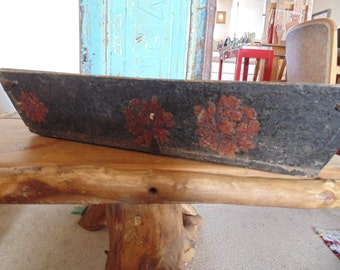 old box with painted flowers