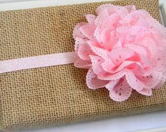 Pink Eyelet Headband - Baby Headband - Pink Glitter Headband