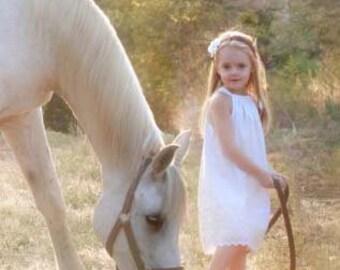 Rustic Flower Girl Dress, white eyelet pillowcase dress, Beach wedding, Easter..9m,12m,18m,2t,3t,4,5t, 6,7,8,9,10