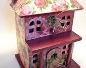Rose Garden Cottage Birdhouse Decoupage