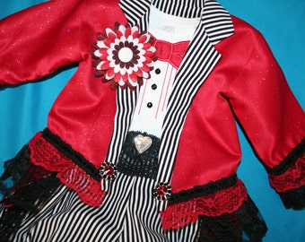 5 piece Girls Ringmaster Pirate Costume JACKET, Tuxedo Onesie, Bloomers, Boutenniere, Top Hat - Birthday Carnival Circus Pageant Wedding