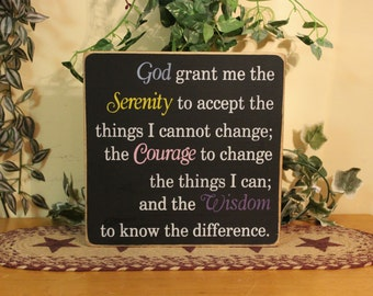"""Primitive """"Serenity Prayer"""" style 2 wood sign - your color choices"""