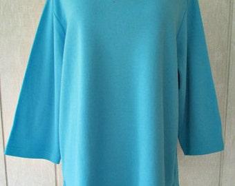 vintage quacker factory turquoise sunburst shirt 1x 3/4 sleeve grommets rhinestones nwt