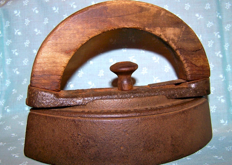 Antique Cast Iron Handles : Sad iron wood handle vintage home decor antique cast