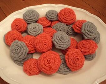 Coral Burlap Flowers Grey Burlap Roses One Dozen Choose Your Colors