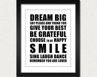 Dream Big Inspirational Art Print Modern Wall Art Inspirational Quotes Everyday Motivator
