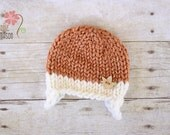 RUSH READY to SHIP - Chunky Earflap Beanie with Wooden Leaf Button, Newborn Photography Prop, Harvest Orange and Cream