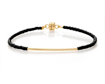 Matt Black & Gold Single Gold Bar Friendship Bracelet