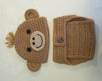 Baby Monkey Crochet Beanie Hat and Diaper Cover - Photo Prop - Available in Newborn to 24 Months Size - Any Color Combination