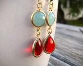 Red and Mint Crystal Earrings, Red crystal earrings, Red and aqua