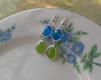 Blue and Green earrings, Blue earrings, crystal earrings, Dangle earrings, Capri Blue Crystal Earrings, Peridot Opal Earrings