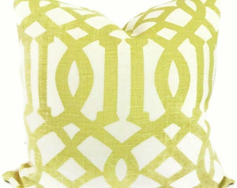 Shumacher Decorative pillow cover Citron Imperial Trellis Decorative Pillow Covers 18x18, 20x20  or 22x22, Eurosham, Lumbar, throw pillow