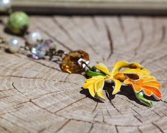 Vintage Enamel Flower One of a Kind Necklace Sassy Sisters Jewelry