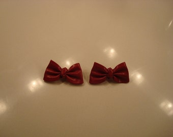 Red leather bow shoe clips plus glam clips