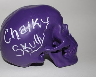 PURPLE CHALKBOARD SKULL Home Art Decor Oddities Macabre Medical Skeleton Grunge Punk Hipster Goonies