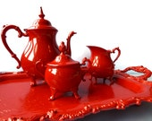 Antique tea set enameled in Gloss Red- Silver plate Upcycled by BMC Vintage Design Studio in powder enamel