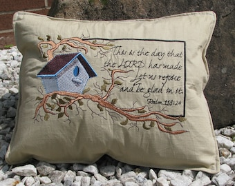 Embroider pillow with scripture verse
