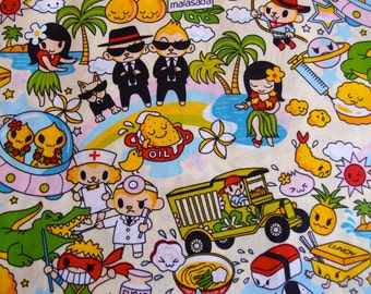 Anime Hawaiian Kawaii Fabric in cream (1 yard) (Last yard!)
