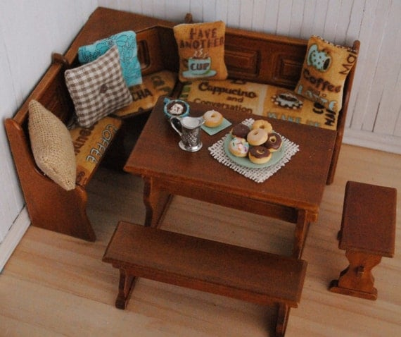 Corner Bench Kitchen Table Set A Kitchen And Dining Nook: Miniature Kitchen Dining Nook Trestle Table And Bench Set With